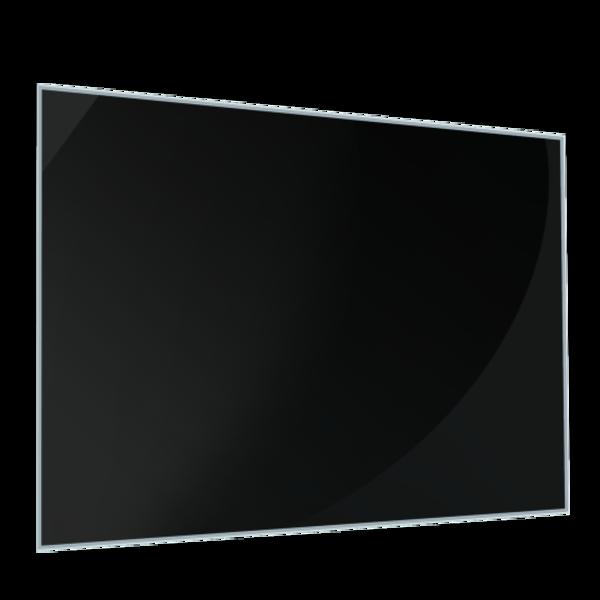 Cr dence de cuisine en verre noir avec cadre aluminium for Credence verre trempe noir