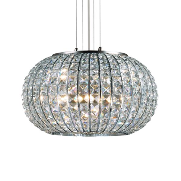 Luminaire suspension en cristal et chrome for Luminaire en suspension