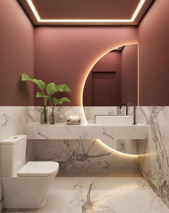 Miroir de salle de bain demi-cercle
