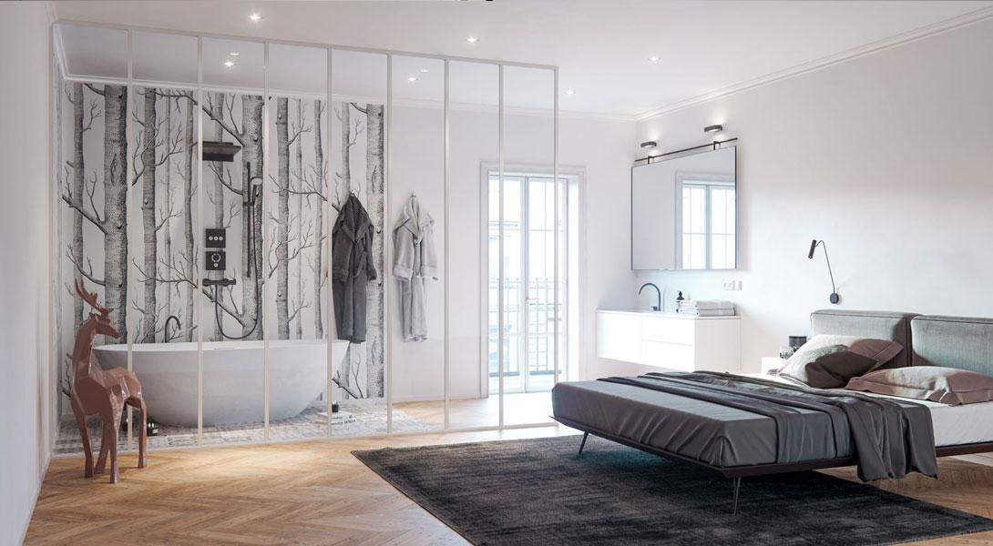 Les 10 plus beaux murs de verre pour une salle de bain parentale