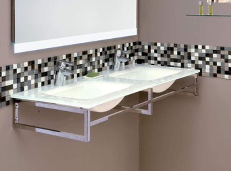 Vasque de salle de bain en verre for Plan double vasque salle de bain