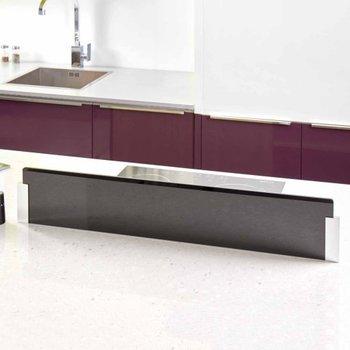 Cr dence en verre noire pour lot de cuisine et plan de travail - Credence en verre pour cuisine ...